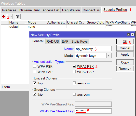 Настройка пользователя и пароля Wi-Fi точки MikroTik