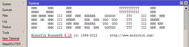 Просмотр версии RouterOS в меню NewTerminal