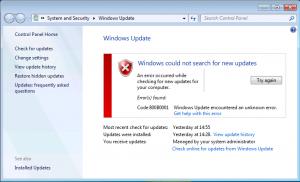 Ошибка Центра обновления Windows 800B0001. Как решить проблему?