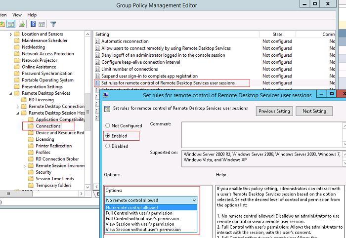 групповая политика управления подключением к терминальным сесииям пользователей