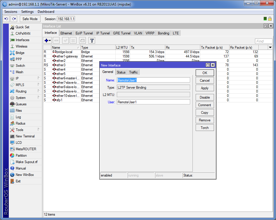 L2TP Server Binding, указываем отображаемое название и имя пользователя