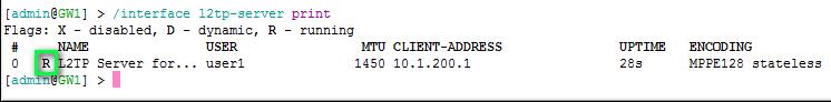 Проверка L2TP-подключения на VPN-сервере маршрутизаторе МикроТик