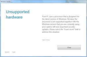 РЕШЕНО: Ошибка «Не поддерживаемое оборудование» (Ваш компьютер оборудован процессором предназначенным для последней версии Windows)