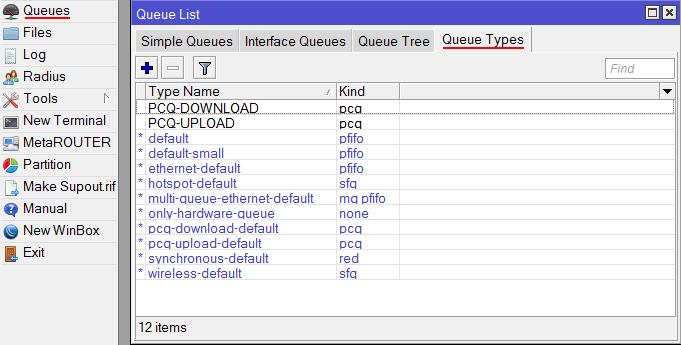 Добавляем PCQ очереди на загрузку и отдачу в MikroTik