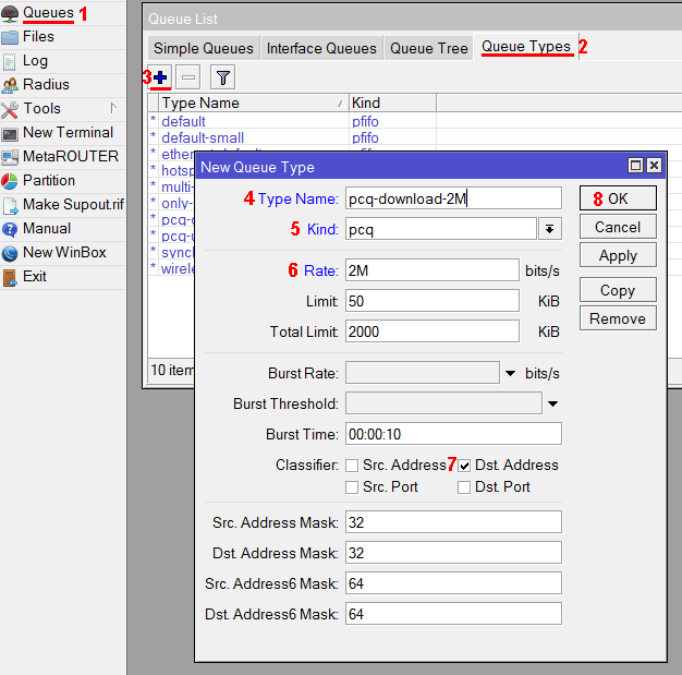 Настройка pcq очереди на загрузку с ограничением 2 Мбит/с в MikroTik