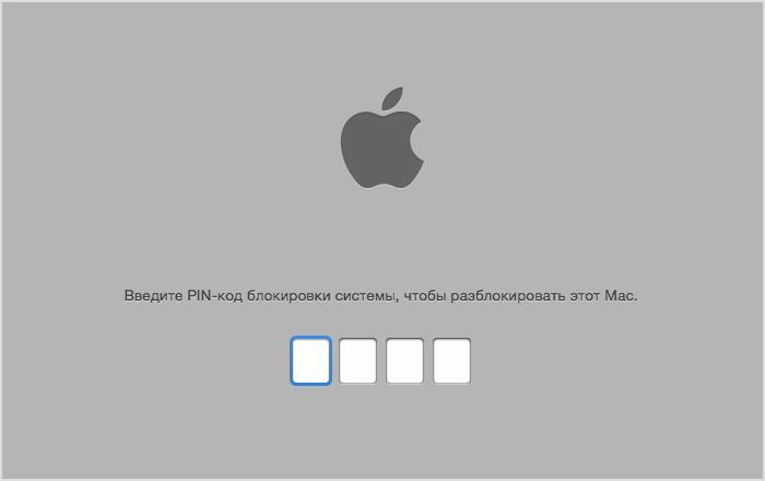Логотип Apple с полями для PIN-кода под ним