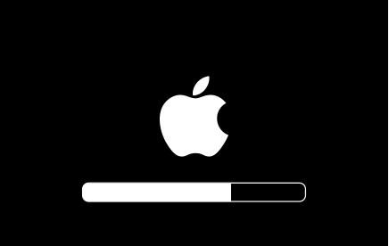 Логотип Apple и индикатор выполнения под ним
