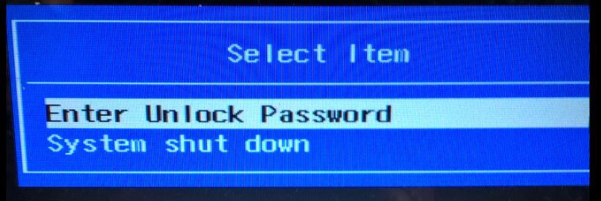 Enter unlock password БИОС