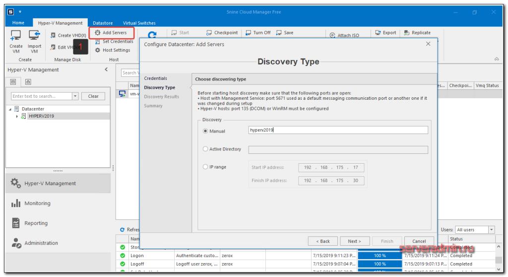 Управление Hyper-V через 5nine Cloud Manager