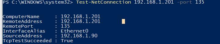 Test-NetConnection powershell проверка TCP порт 135 службы RPC Endpoint Mapper